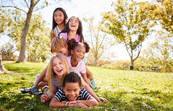 Multi ethnic group of children.